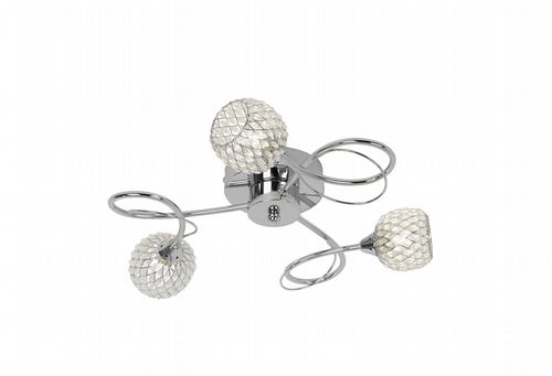 3 Light Flush Fitting In Chrome With Wire & Glass Bead Shade AHERNE-3CH
